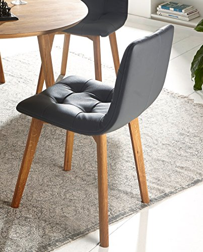 Sam stilvoller esszimmer stuhl grauer lederbezug for Esszimmer schalenstuhl
