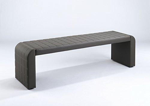 "Cavadore Vorbank ""Cobra"" Schlamm-Farbe / Moderne, gepolsterte Sitzbank / Essbank Kunstleder / Bank ohne Lehne: 162 x 50 x 48,5 cm (B x T x H)"