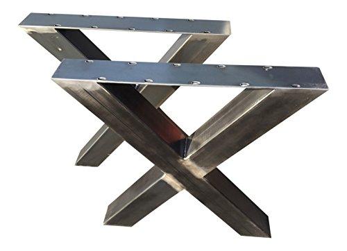 Design Tischgestell X Gestell Kreuzgestell Rohstahl TUX 306 Tischuntergestell Tischkufe Kufengestell 1 Paar 690x725 mm Industrielook