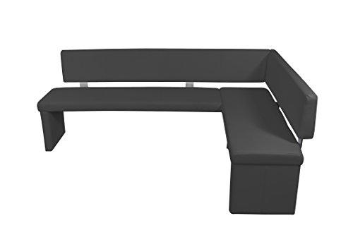 cavadore eckbank links charisse india schwarz gepolsterte kunstleder eckbank mit r ckenlehne. Black Bedroom Furniture Sets. Home Design Ideas