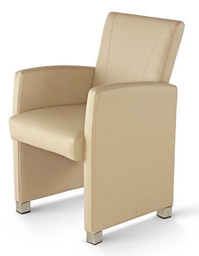 SAM® Esszimmer Armlehnstuhl Sessel Max in creme, Füße in edelstahlfarben, Lehnstuhl mit angenehmer Polsterung, pflegeleichter Esszimmerstuhl