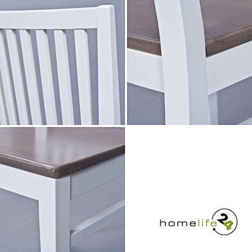 Esszimmerstühle 2er Set Massiv-Holz Küchen-Stühle Doppelpack Holzstühle Landhaus-Stil Essstühle Natur-Produkt Design Stühle aus Echt-Holz in weiss sepia braun