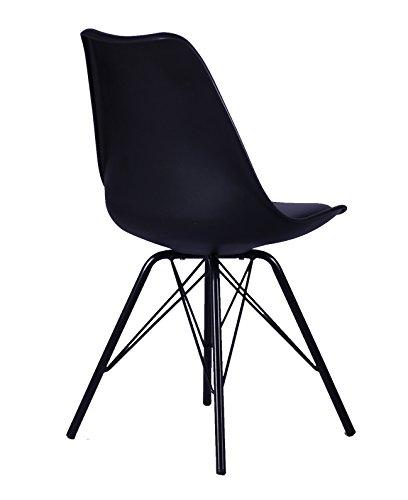 SAM® Design-Schalenstuhl Oslo, Schwarz, mit integriertem Sitzkissen, abgewinkelte Beine aus Metall, ergonomisch geformte Sitzschale, bequemer Esszimmer-Stuhl