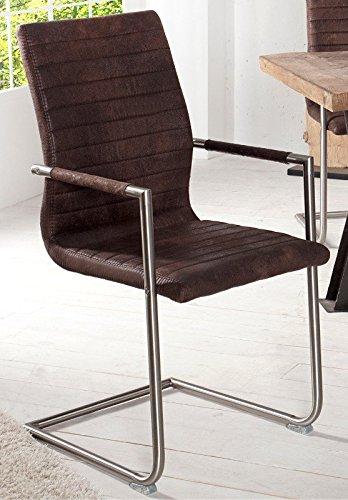 Dunord design stuhl freischwinger columbia esszimmerstuhl for Design stuhl leder edelstahl