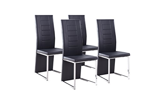 Cavadore Stuhl 4-er Set Esther / Stühle ohne Armlehne in modernem Design / Lederimitat / Stuhlset Schwarz / 54 x 42,5 x 103 cm (T x B x H)