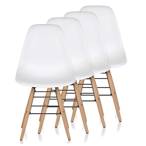 Makika Retro Stuhl Design Stuhl Esszimmerstühle Bürostuhl Wohnzimmerstühle Lounge Küchenstuhl Sitzgruppe 4er Set aus Kunststoff mit Rückenlehne BEEZ in Weiss