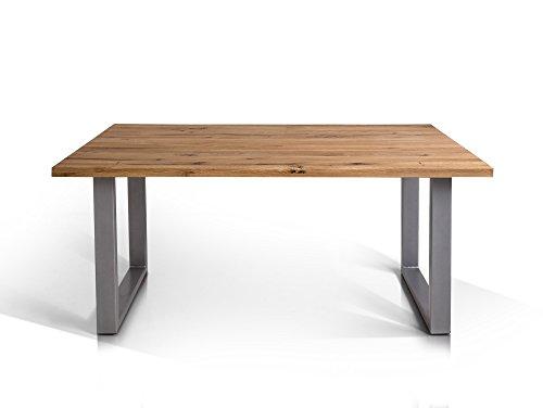 TOBAGO Baumkantentisch Esstisch Wildeiche Holztisch Massivholztisch Esszimmertisch Tisch Baumkante Metallfuß Edelstahlfarbig lackiert 160 x 90 cm, 160 x 90 cm