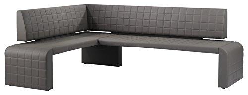 Cavadore Eckbank rechts Cobra / Gepolsterte Kunstleder-Sitzbank mit Lehne in Schlamm-Farbe / 161 x 231cm / Höhe: 95cm / Tiefe: 45cm