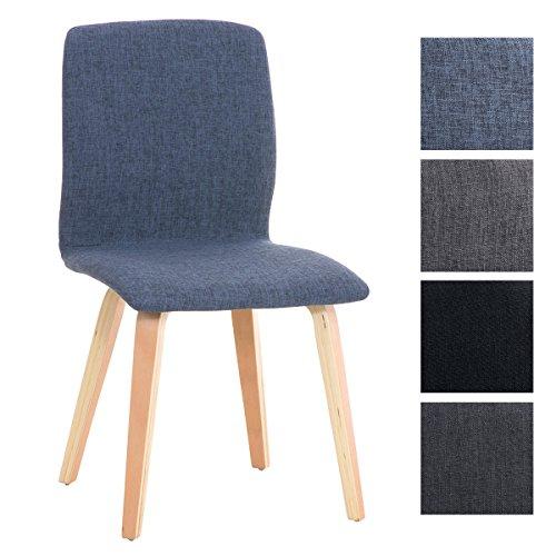 CLP Retro Besucher-Stuhl GRANAT, Polsterstuhl modern, Holzgestell, Stoffbezug Blau