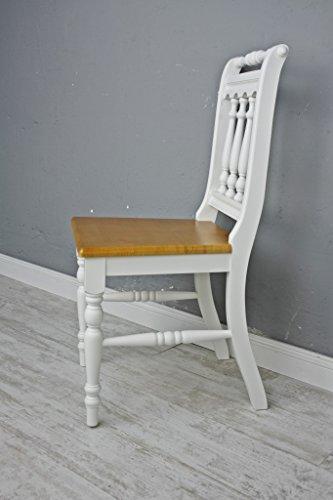 Stuhl Holzstuhl Küchenstuhl OTTO massiv weiß braun Holz Landhaus Cottage