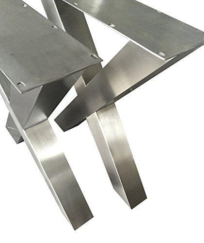 Design Tischgestell Edelstahl TUX 303 Tischuntergestell Tischkufe Kufengestell 1 Paar 690x725 mm Neu un