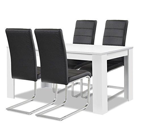 Agionda® Esstisch + Stuhlset : 1 Esstisch Toledo Weiss 120 x 80 + 4 Freischwinger schwarz