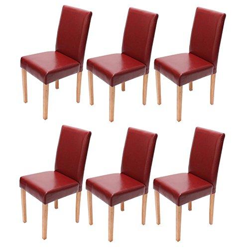 6x Esszimmerstuhl Stuhl Lehnstuhl Littau ~ Leder, rot, helle Beine