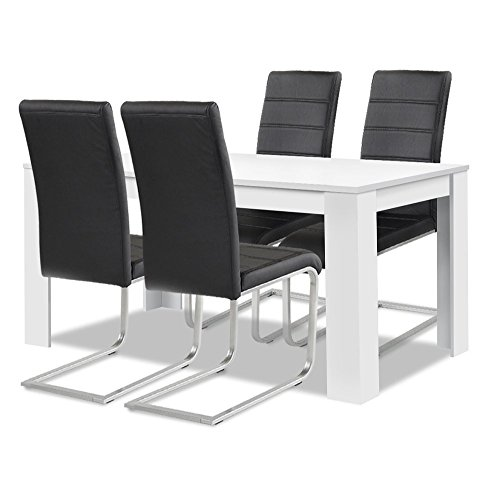 Agionda® Esstisch + Stuhlset : 1 x Esstisch Toledo Weiss 120 x 80 + 4 Freischwinger schwarz