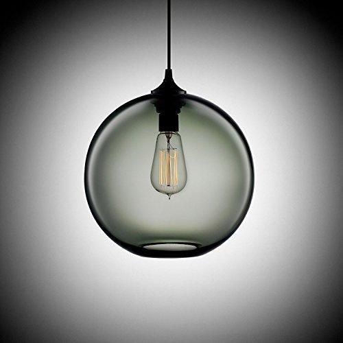 KJLARS Moderne runde Pendelleuchte Hängeleuchte Hängelampe Kugelleuchte Klassische Pendellampe Leuchtmittel für Essentisch (Grau)