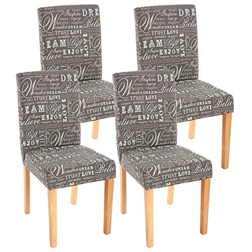 4x Esszimmerstuhl Stuhl Lehnstuhl Littau ~ Textil mit Schriftzug, grau, helle Beine