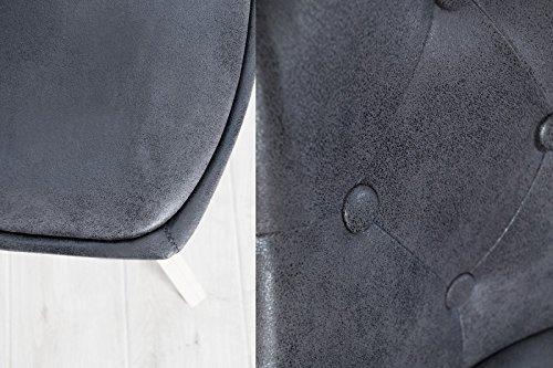 DuNord Design Stuhl Esszimmerstuhl 4er Set LONDON Mikrofaser antik grau Chesterfield Design