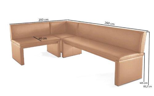 SAM® Eckbank cappuccino, 200 x 260 cm, links und rechts aufbaubar, flexibel montierbar, drei Einzelteile [521737]