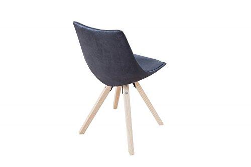 DuNord Design Stuhl Esszimmerstuhl LONDON Mikrofaser antik grau Chesterfield Retro Design