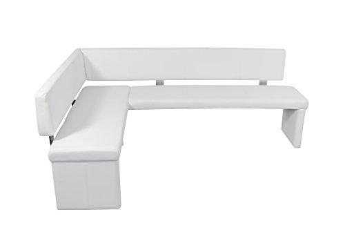 """Cavadore Eckbank rechts """"Charisse"""" India Weiß / Gepolsterte Kunstleder-Eckbank mit Rückenlehne in Weiß / Innenmaß: 160 x 92 cm / 149 x 214 x 54 x 83 cm (B x B x T x H)"""