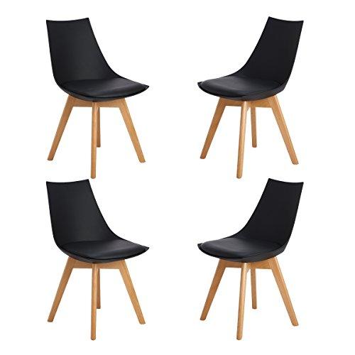 Ajie 4er Set Retro Designer Stuhl Esszimmerstühle Wohnzimmerstühl mit bequem Gepolstertem Sitz,Schwarz