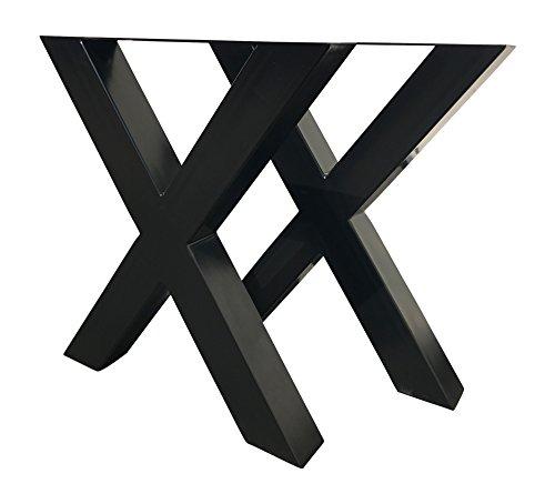 Design Tischgestell X Gestell Kreuzgestell Stahl schwarz TUX 305 Tischuntergestell Tischkufe Kufengestell Paar 690x725 mm