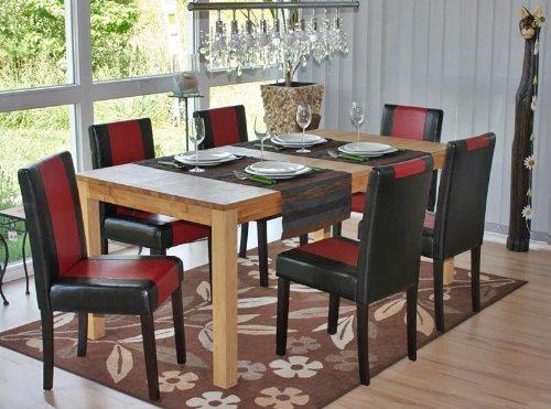 4x Esszimmerstuhl Stuhl Lehnstuhl Littau ~ Kunstleder, schwarz-rot, dunkle Beine