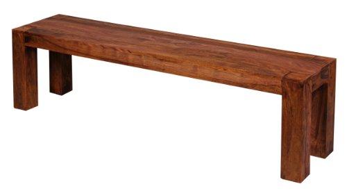 WOHNLING, Esszimmer, WL1.323, Sitzbank Massiv-Holz Sheesham 160 x 45 x 35 cm Design Holz-Bank Natur-Produkt Küchenbank Landhaus-Stil dunkel-braun