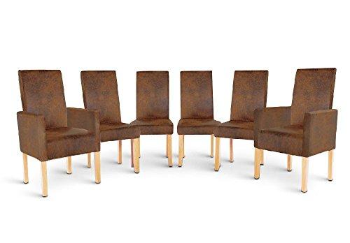 SAM® Stuhl Sparset 4+2 aus 4 Esszimmerstühlen Sergio und 2 Armlehnstühlen Serano in Wildlederoptik mit buchefarbigen Beinen aus Pinienholz