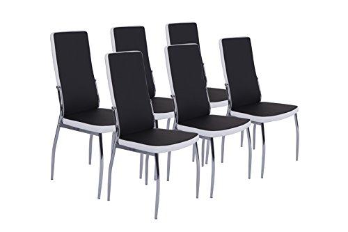 Cavadore Stuhl 6-er Set Mattis / Stühle ohne Armlehne in modernem Design / Lederimitat / Stühle Schwarz Weiß / 54 x 44 x 101 cm (T x B x H)