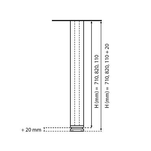 Tischbeine 100% Aluminium, höhenverstellbar | Sossai® Exklusiv E4TBGS | Ausführung: Edelstahl gebürstet, Vierkant | Set: 4 Stück | Höhe: 82 cm (820 mm), einstellbar + 2 cm …