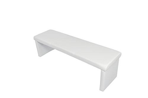 """Cavadore Vorbank """"Charisse"""" India Weiß / Moderne, gepolsterte Sitzbank / Kunstleder-Bank weiß / Bank ohne Lehne: 140 x 45 x 48 cm (B x T x H)"""