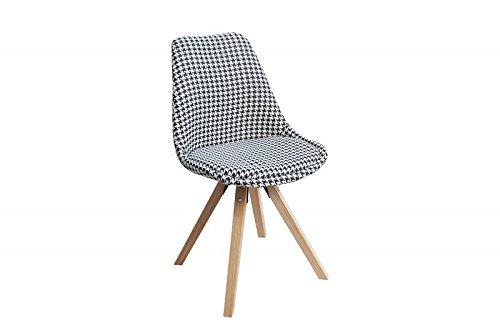 DuNord Design Stuhl Esszimmerstuhl NEW STOCKHOLM Strukturstoff Hahnentritt Eiche Pepita Retro