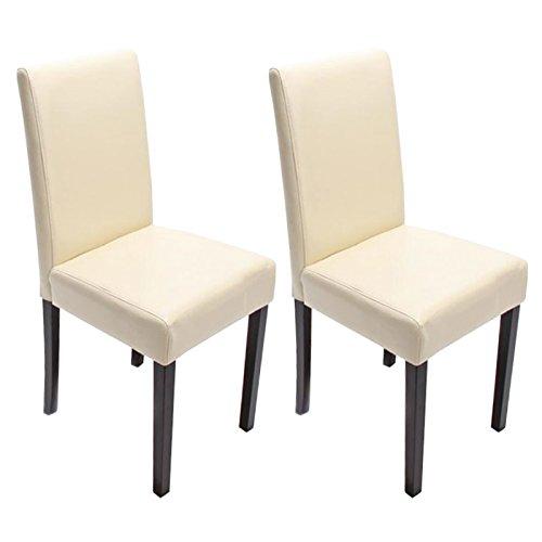 2x esszimmerstuhl stuhl lehnstuhl littau leder creme dunkle beine esszimmerst. Black Bedroom Furniture Sets. Home Design Ideas