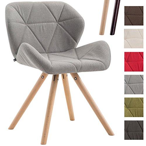 CLP Design Retro-Stuhl TYLER, Bein-Form rund, Stoff-Sitz gepolstert, Buchenholz-Gestell, Hellgrau, Gestellfarbe: Natura