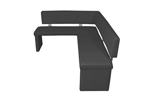 "Cavadore Eckbank rechts ""Charisse"" India Schwarz / Gepolsterte Kunstleder-Eckbank mit Rückenlehne in Schwarz / Innenmaß: 140 x 92 cm / 149 x 194 x 54 x 83 cm (B x B x T x H)"