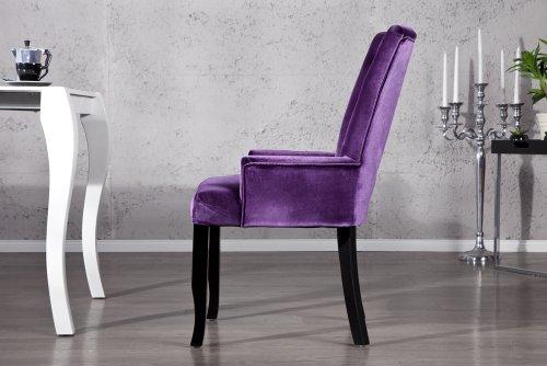 design stuhl barocco mit armlehnen samt lila mit strasssteinen esszimmerst. Black Bedroom Furniture Sets. Home Design Ideas