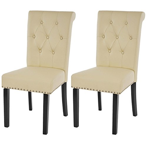 2x esszimmerstuhl chesterfield ii stuhl lehnstuhl nieten kunstleder creme dunkle beine. Black Bedroom Furniture Sets. Home Design Ideas