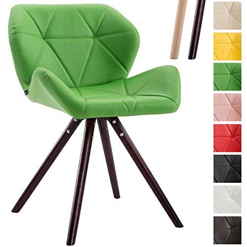 CLP Design Retro-Stuhl TYLER, Bein-Form rund, Kunstleder-Sitz gepolstert, Buchenholz-Gestell, Grün, Gestellfarbe: Cappuccino