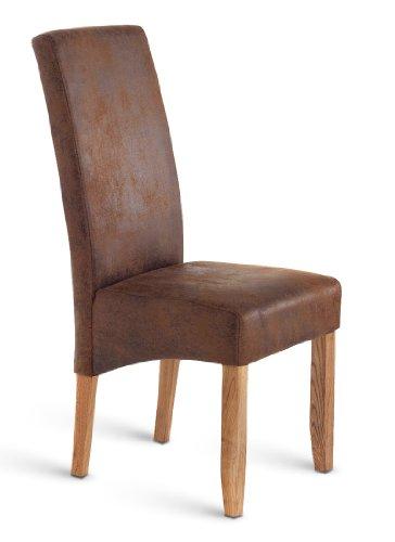 SAM® Esszimmer-Stuhl, mit Stoffbezug in Wildlederoptik, Holzbeine in eichenfarben, gepolstert und pflegeleicht, hoher Sitzkomfort, Stuhl für Ess- und Wohnzimmer [53258193]