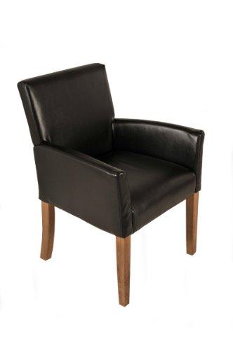 SAM® Esszimmer Armlehnenstuhl, Relaxsessel Badesi in braun, SAMOLUX®-Bezug, Stuhl mit eiche-farbenen Beinen aus Massiv-Holz, Esszimmerstuhl mit angenehmer Polsterung für hohen Sitzkomfort