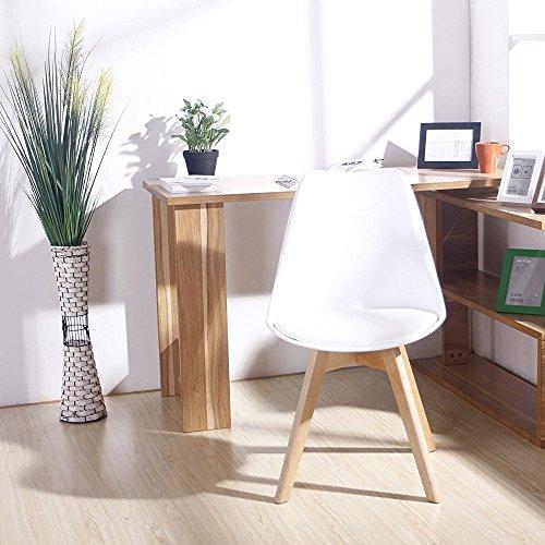Ajie Set von 4 Stühle 52x48x82cm Trend skandinavischen Retro Design Gepolsterter lStuhl Kunststoff PP Faux PU Massivholz Esszimmerstühle - Weiß