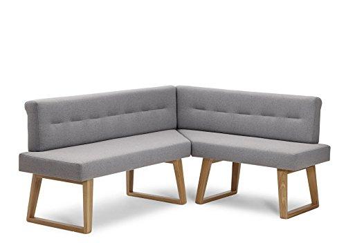 """Naturnah Möbel Eckbank """"Divine"""". Modernes Design aus Leder und Massivholz, Wildeiche. Exklusive Anfertigung, nachhaltig produziert. (210 x 180 cm, Sand)"""