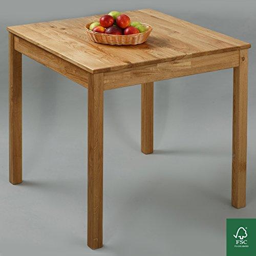 Esstisch Massivholz Eiche 100% FSC Tomas Esszimmertisch Massivholz Tisch (75 x 75 x 75 cm)