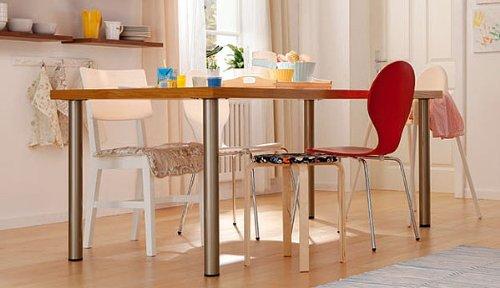 1 Stück Tischbein Möbelfüß L 900 mm / 60 mm Rund Alu-silbermatt