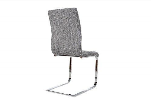 DuNord Design Stuhl Freischwinger RIVIERA Esszimmerstuhl Strukturstoff grob grau Chrom