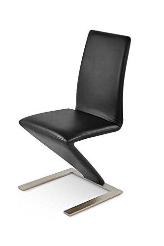 SAM® Freischwinger Basel in schwarz moderner Design Esszimmer-Stuhl mit Edelstahl-farbigen Standfuß