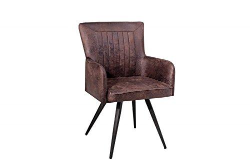 DuNord Design Esszimmerstuhl Stuhl RALLYE Mikrofaser antik braun Retro Design Küchenstuhl