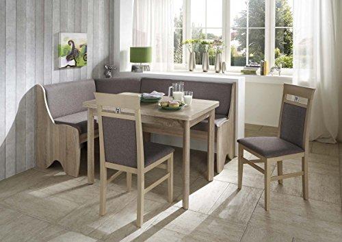 Dreams4Home Eckbankgruppe 'Coro' Essgruppe 166 x 126 x 87 cm Tisch 2 Stühle modern Sonoma Eiche Dekor grau braun Eckbank Küchentisch 4-teilig Landhaus Küche