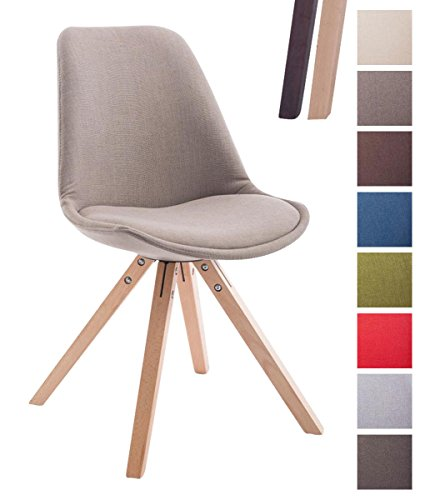CLP Design Retro-Stuhl TOULOUSE SQUARE, Stoffbezug gepolstert taupe, Holzgestell Farbe natura, Bein-Form eckig